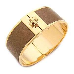 NWT~TORY BURCH~Tan/Gold Leather Inlay CuffBracelet